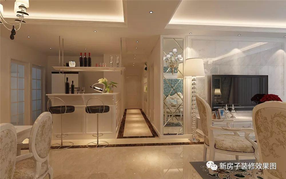 13万装修120㎡简欧三居室,瓷砖电视墙,玻璃餐边柜和石膏吊顶是亮点 .图片