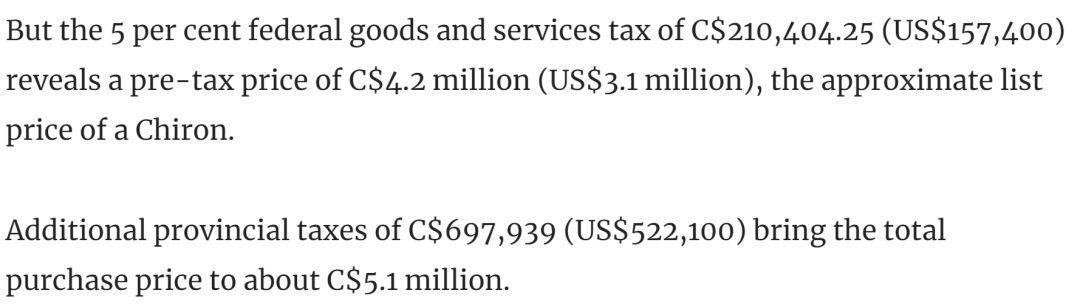 那个3亿全款买豪宅的中国土豪,最近在温哥华买了辆布加迪,交了$90万的税... ... 那个,豪宅,中国,国土,土豪 第15张图片