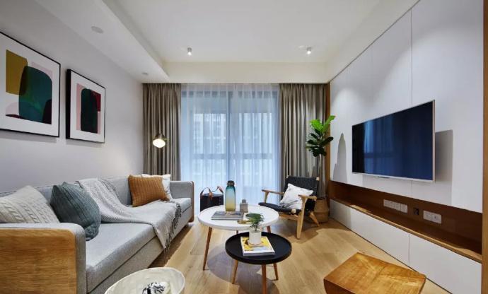89㎡简约现代风格家居装修,自然木色总是能让空间变得休闲舒适 ... 舒适,家居装修,现代风格,自然,总是 第2张图片