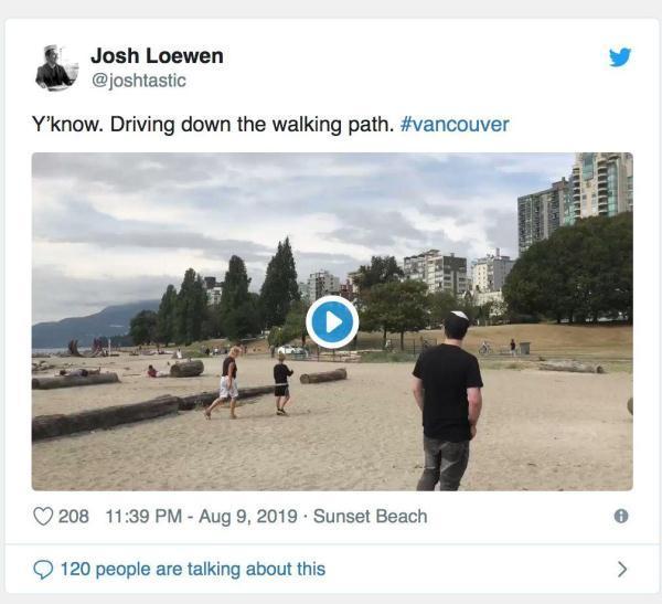 温哥华司机又作妖,竟然把车开到这里看呆路人 本田,温哥华市,温哥华市中心,温哥华,司机 第3张图片
