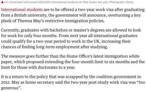 PSW签证复活?2021年起英国允许留学生毕业后在英居留2年 2012年,每日电讯报,2021年,欧盟法律,国际学生 第2张图片