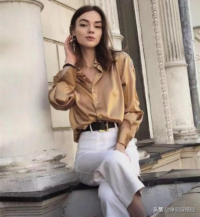 奶奶裤与衬衫结合,早秋的穿搭不用愁了 白色的,白衬衫,都可以,休闲鞋,整体的 第1张图片