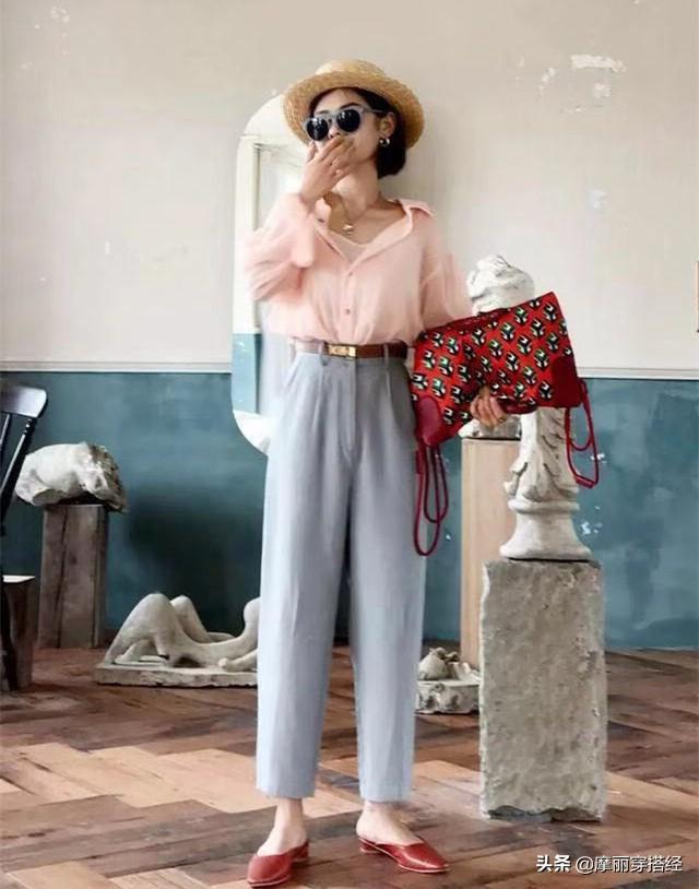 奶奶裤与衬衫结合,早秋的穿搭不用愁了 白色的,白衬衫,都可以,休闲鞋,整体的 第5张图片