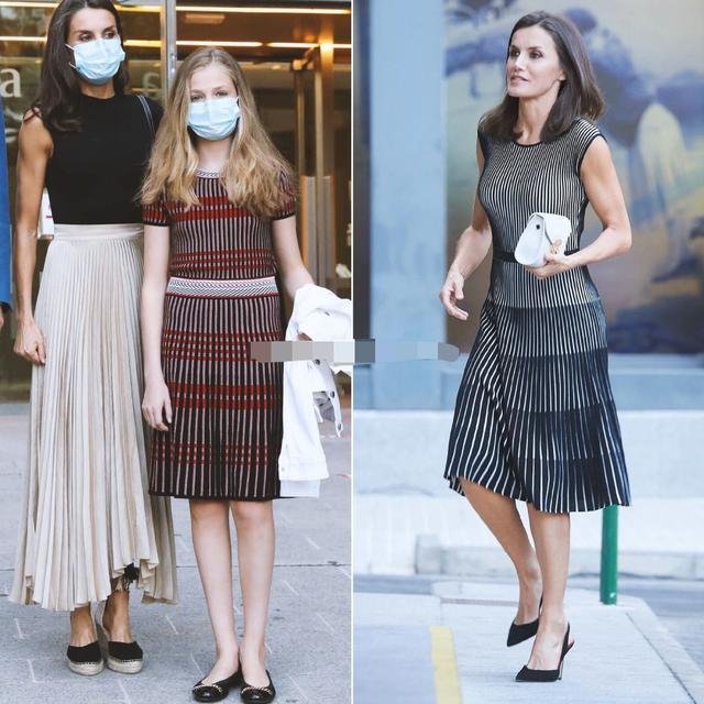 西班牙一家合体,14岁小公主初次穿姐姐旧衣,1米7身高穿得小一码 第4张图片