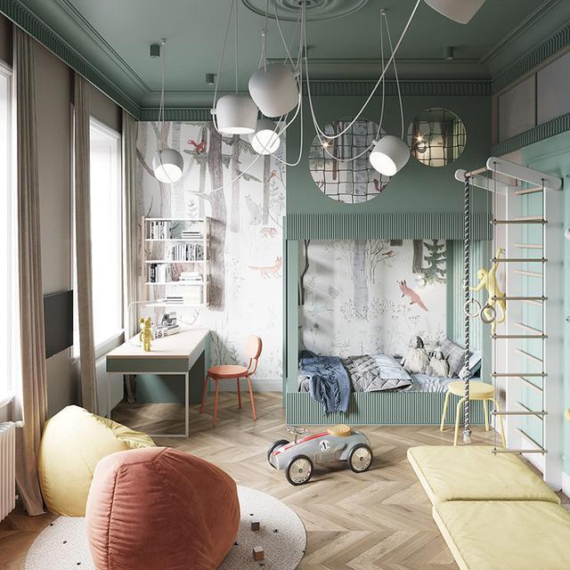 出色!明亮色彩家庭装修案例,欢畅、活跃、朝气勃勃,人见人爱 第7张图片