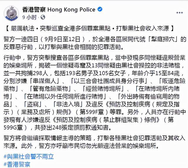 香港黑帮厮杀闯入警署,全港反黑4天逮捕298人 第4张图片
