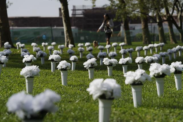 全球连线 丨 美国纽约:红色瓶花悼念枪枝暴力遇难者 第5张图片